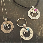 Personalised Live Laugh Love Necklace or Keyring with charm & birthstone